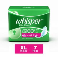 Whisper Ultra clean Sanitary Pads Xtra Large Wings Size 7 pc Pack