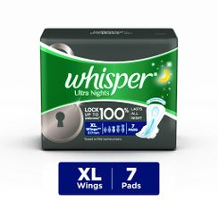 Whisper Ultra Overnight Sanitary Pads Xtra Large Wings Size 7 pc Pack