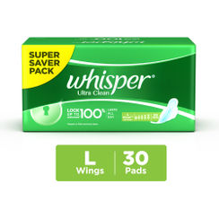 Whisper Ultra Clean Sanitary Pads Large Wings Size 30 pc Pack