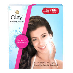 Olay Natural White Day SPF24 Glowing Fairness Cream 50gm + Free Foaming Cleanser 50gm
