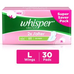 Whisper Ultra Soft -L 2x Softer Large 30 Pads