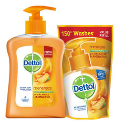 Dettol Re-energize pH-Balanced Liquid Hand Wash (200 ml) + Dettol Liquid Soap Refill (185 ml)