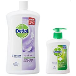 Dettol Sensitive pH-Balanced Handwash (900 ml) + Free Original Liquid Handwash Pump (215ml)