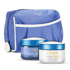 LOreal Paris White Perfect Day + Night Cream With Free Travel Pouch