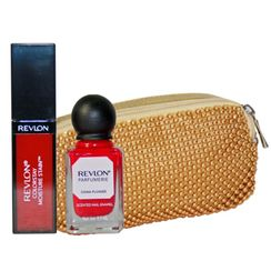 Revlon Retro Red Lip & Nail Beauty Collection With Golden Beeds Pouch