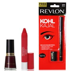 Revlon Colorburst Matte Balm Striking & Nail Enamel Knotty Berry + Free Eyeliner Pencil