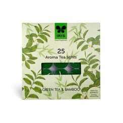 Iris Aroma Pack of 25 Tea Lights - Green Tea & Bamboo