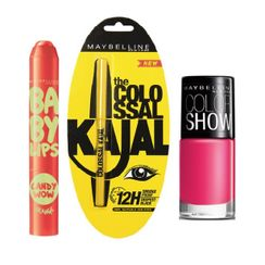 Maybelline Baby Lips Candy Wow + Colossal Kajal + Free Nail Lacquer - Hooked On Pink