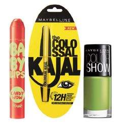 Maybelline Baby Lips Candy Wow + Colossal Kajal + Free Nail Lacquer -Mint Mojito