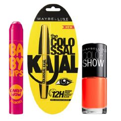 Maybelline Baby Lips Candy Wow - Rasberry + Colossal Kajal + Free Nail Lacquer-Orange Fix