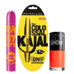 Maybelline Baby Lips Candy Wow - Mixed Berry + Colossal Kajal + Free Nail Lacquer-Orange Fix