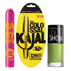 Maybelline Baby Lips Candy Wow - Mixed Berry + Colossal Kajal + Free Nail Lacquer - Mint Mojito