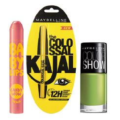 Maybelline Baby Lips Candy Wow - Peach + Colossal Kajal + Free Nail Lacquer - Mint Mojito