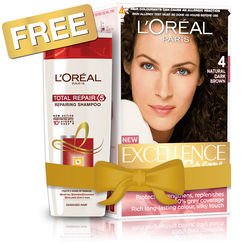 LOreal Paris Excellence Creme Hair Color - 4 Natural Dark Brown + Free Total Repair 5 Shampoo