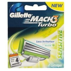 Gillette Mach 3 Turbo Sensitive Cartridge - Pack of 4
