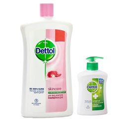 Dettol Skincare pH-Balanced Handwash (900 ml) + Free Original Liquid Handwash Pump (215ml)