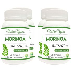 Nutravigour Organic Moringa Extract Dietary Supplement - Veg 60 Capsules - Pack Of 4