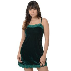 116b31ef8d8 Da Intimo Short Comfy Babydoll With A Small Slit And Lace On The Front -  Green