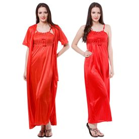 45c1909a91 Fasense Nightdress - Buy Fasense Women Satin Nightwear 2 PCs Set of ...