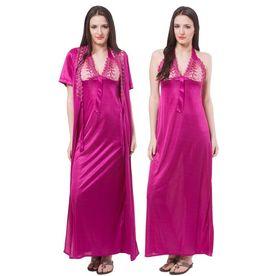 6ef0d3b8a8 Fasense Women Satin Nightwear 2 PCs Set Of Nighty   Wrap Gow.