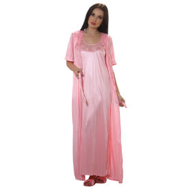 Clovia 4 Pcs Satin Nightwear In Baby Pink - Robe c1d89cbc3