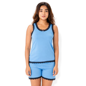 052f87777d Prettysecrets Cotton Tank   Short Set - Blue