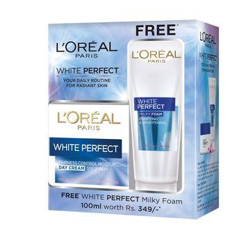 L'Oreal Paris White Perfect Moisturizing Day Cream + Free White Perfect Milky Foam(150ml)
