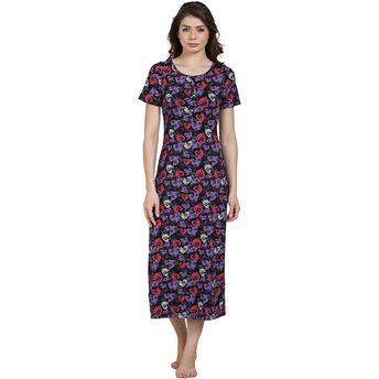 bcb007b4d3 Blush By Prettysecrets Cotton Long Night Dress - Multi-Color at ...