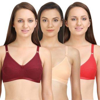 64782f3f73857 Bodycare Perfect Coverage Bra In Maroon-Red-Dark Peach Color (Pack ...