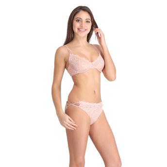 e5e05abdf2 Clovia Set Of Non-Padded Underwired Lace Bra   Lace Bikini - Orange ...