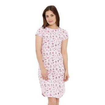 Mystere Paris Nightdress - Buy Mystere Paris Pink Cotton Sleep Tee ... a69bc5393