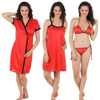 2dd915f231 Fasense Nightdress - Buy Fasense Women Satin Nightwear 4 PCs Set ...