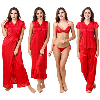 d086562098 Fasense Women Satin Red Nightwear 6 Pc Set of Nighty