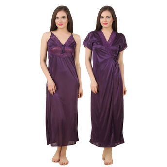 Fasense Nightdress - Buy Fasense Women Satin Nightwear 2 PCs Set of ... 0c0a97f81