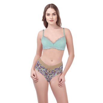08e3fbdbdf Kate Underwired Light Padded Bra With Panty - Green (36B L) at Nykaa.com