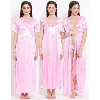 f8fd3b5fe68 Clovia SatIn Nighty   Robe String Bra Brief Set - Pink (Free Size)(Free Size )