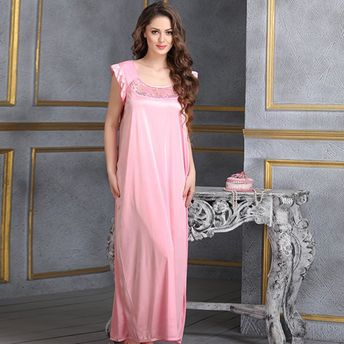 ec09fafa26 Clovia Nightdress - Buy Clovia Long Satin Nighty In Baby Pink (Free ...