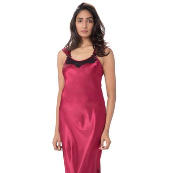 ceb0badbb8 Pretty Secrets Satin Lace Trim Nightdress Red at Nykaa.com