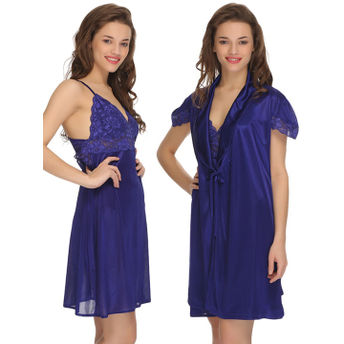 533294951f Clovia Nightdress - Buy Clovia 2 Pc Premium Satin Nightwear In Dark ...