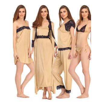 Clovia 9 Pcs SatIn Nightwear Set at Nykaa.com d96620ee9