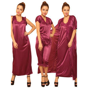 0aa8acb26049 Clovia 4 Pcs SatIn Nightwear In WIne - Robe