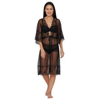 434cd866f9 S.O.I.E See Through Robe Nighty - Black at Nykaa.com