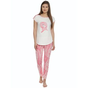 Soie Women s T-Shirt With Printed Narrow Bottom Pajama - Multi-Color (S)(S) ec7a0a77f