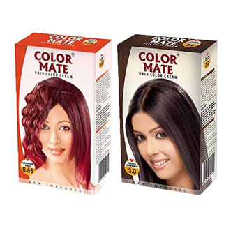 Color Mate Dark Brown & Copper Red Hair Color Cream at Nykaa.com