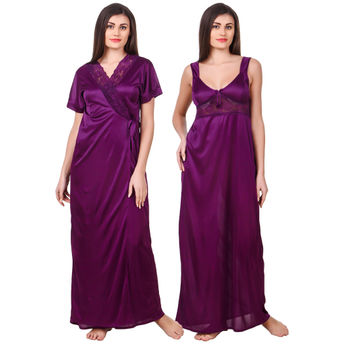 Fasense Women Satin Purple Nightwear 2 Pc Set of Nighty   Wrap at ... 7ede3486b