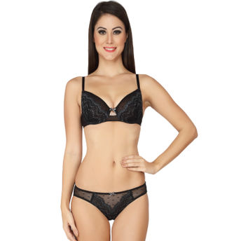 d139830d3c S.O.I.E Black Decadent Centre-Front Lace Bustier And Panty Set - Black at  Nykaa.com
