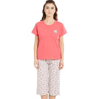 Velvet by night Coral Solid Round Neck Top   Capri Set for Women at ... 7614f3ae5