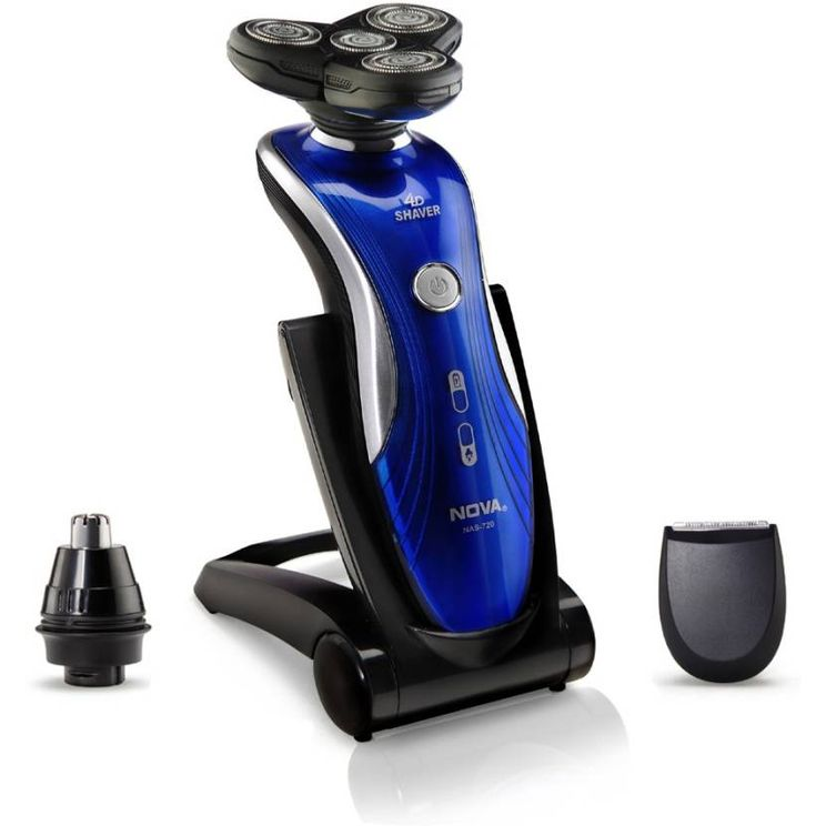 Nova NAS 720 Aqua 4D Wet & Dry Shaver For Men (Blue)