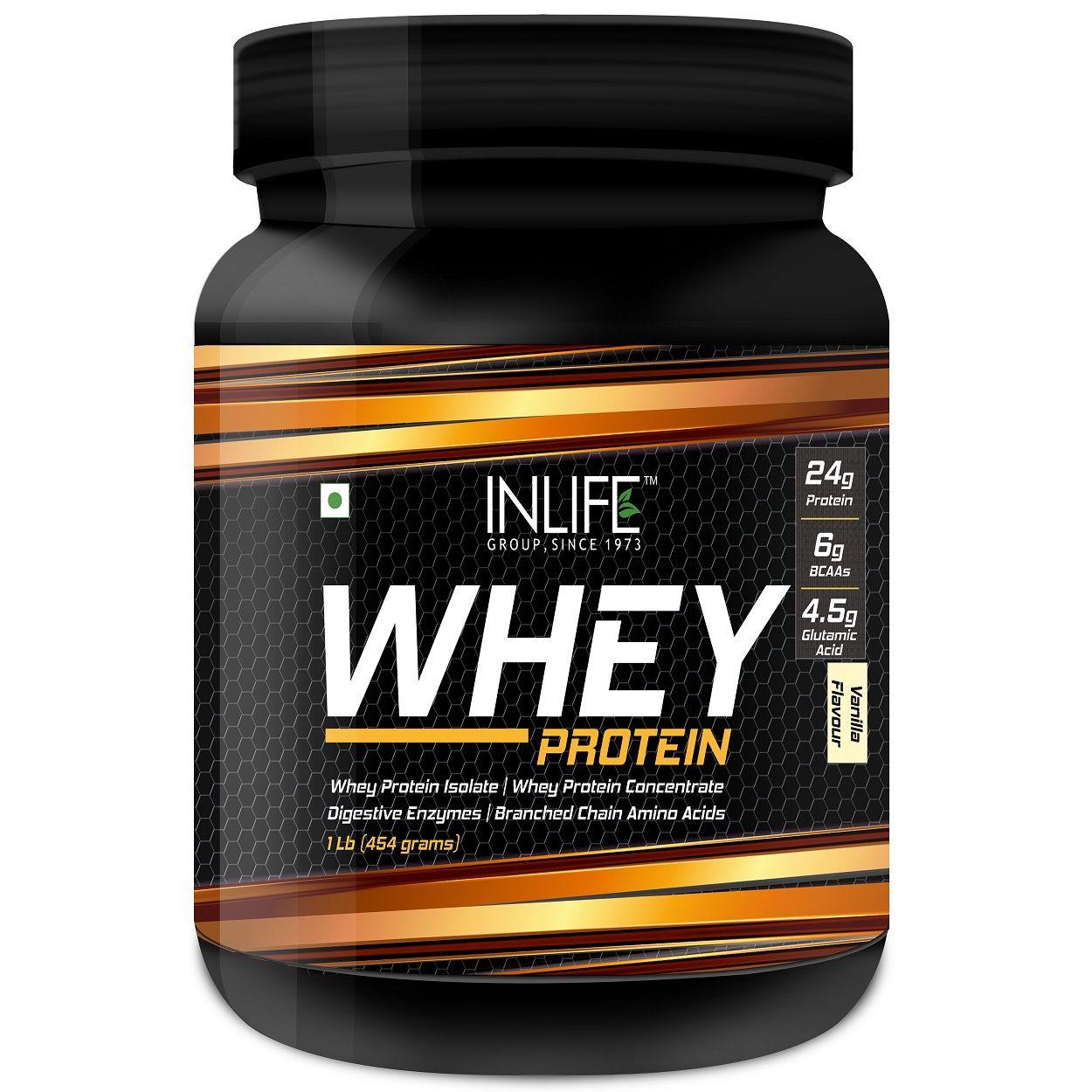 INLIFE Whey Protein Powder Body Building Supplement Vanilla Flavour 454gm