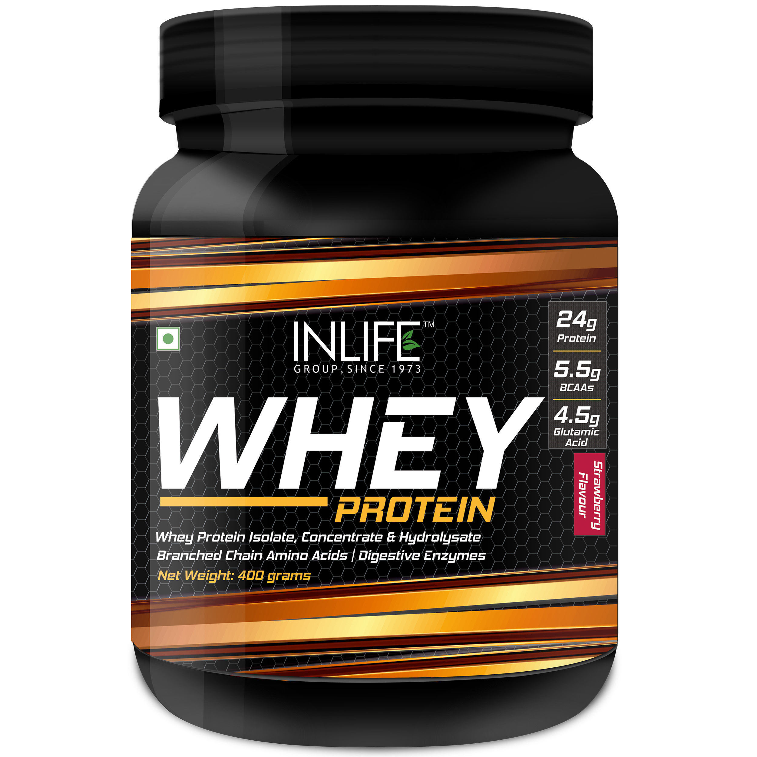 INLIFE Whey Protein Powder With Isolate Concentrate Hydrolysate & Digestive Enzymes - 400gm (Strawberry)